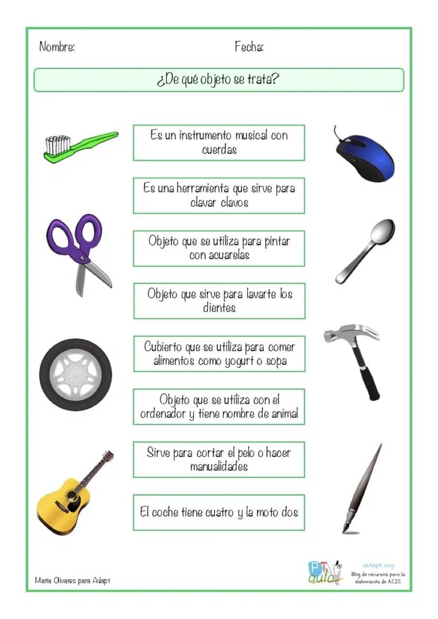 diapositiva descripción de objetos pequeños