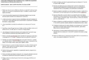 Examen Infantil Andalucía 2003